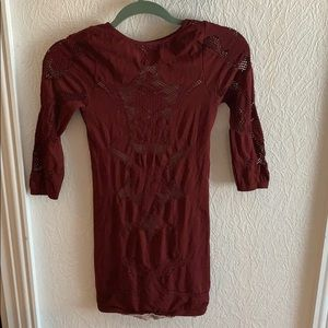 Never worn Free People maroon dress XS/S